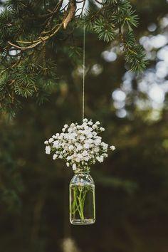 Hanging flower Mason jars #wedding #decorations #flowers