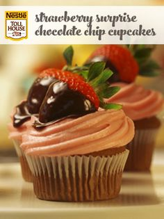 Strawberry Surprise Chocolate Chip Cupcakes