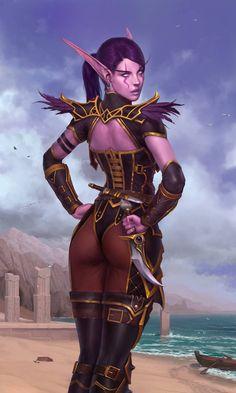 Coast by Nutfullin on DeviantArt – World Of Games Fantasy Art Women, Dark Fantasy Art, Fantasy Girl, Fantasy Artwork, World Of Warcraft, Warcraft Art, Fantasy Female Warrior, Female Art, Fantasy Characters