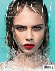 TUSH Summer 2012 One of two covers. Bold red lips for Cara Delevingne