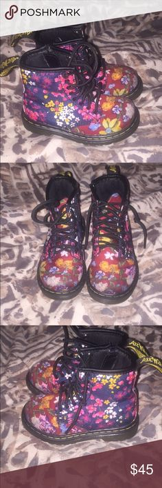 Dr.Martens boots Floral Dr. Marten boots in good condition. Dr Martens Shoes Lace Up Boots