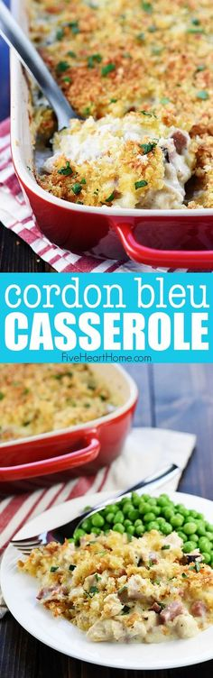 Cordon Bleu Casserole ~ loaded with chicken (or turkey) and ham in a creamy Swiss cheese sauce topped with a layer of toasty bread crumbs for a decadent, delicious dinner...perfect for using up Thanksgiving leftovers!   FiveHeartHome.com #cordonbleu #casserole #ham #chicken #turkey #leftovers #leftoverturkey #leftoverham #comfortfood #recipe #fivehearthome