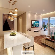 The pendants of the dining room are modern and their different sizes . Grey Dinning Room, Dining Room Design, Condo Design, Home Interior Design, House Design, Hall And Living Room, Living Room Sets, Sala Grande, Ceiling Light Design