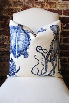 "Oceania - Indigo - Thomas Paul- Duralee Fabric -  Pillow Cover size 20""x20"" - Decorative Fabric"