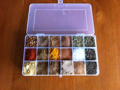 Plastic travel box of spices. Such a good idea.