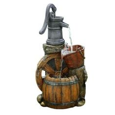 Alpine 24 in. Old Fashion Pump Barrel Fountain WCT688 at The Home Depot - Mobile