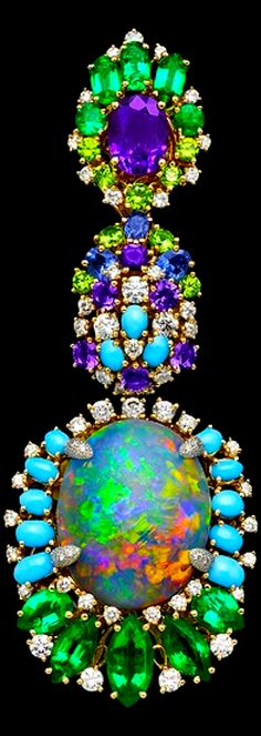 Dior Jewellery – Earring; centred around an opal with turquoise, emeralds, purple sapphires and diamonds.
