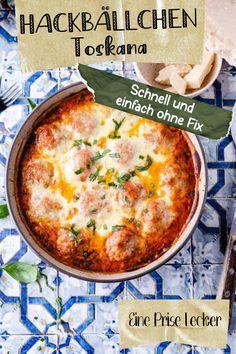 Dieses Rezept für Hackbällchen Toskana kommt ganz ohne Fix aus und schmeckt einfach super lecker ! Dazu ist es noch ganz einfach zubereitet :) Cheeseburger Chowder, Soup, Ethnic Recipes, Blog, Savoy Cabbage, Tuscany, Oven, Losing Weight, Blogging