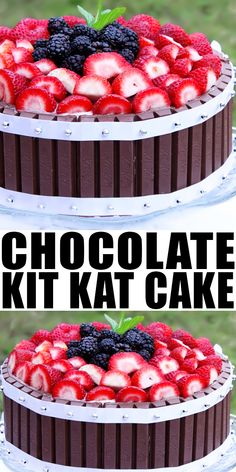 CHOCOLATE KIT KAT CAKE RECIPE- Learn how to make a quick, easy chocolate cake, requiring simple ingredients, loaded with strawberries, blackberries. This easy cake decorating idea is great for kids birthday parties. From cakewhiz.com #cake #chocolate #kitkat #strawberry #blackberry #cakerecipe #party #partyfood #dessert #dessertrecipe