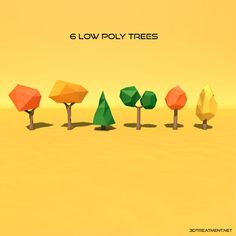 6 Low Poly Trees by 3DTreatment on @creativemarket