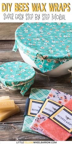 These beeswax wraps take no time at all to create and make a great alternative to plastic wrap. No fancy or hard to find ingredients, just these two simple items and you're ready to make your own. Make your own reusable food wrap to keep for your kitch Diy Beeswax Wrap, Bees Wax Wraps, Bees Wax Wrap Diy, Kitchen Wrap, Rustic Kitchen, Diy Cadeau Noel, Limpieza Natural, Reusable Food Wrap, Diy Simple
