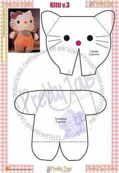 pantalon pour blythe tuto pour faire une peluche Hello Kitty, Free softie pattern , it is in Russian, that will make an interesting sewing adventure! Another option many beloved cats. Very simple, concise . 3 D Eustaquio Higueria 3 -- make into a prim Jus Peluche Hello Kitty, Chat Hello Kitty, Doll Crafts, Sewing Crafts, Sewing Projects, Fabric Toys, Fabric Crafts, Softie Pattern, Sewing Dolls
