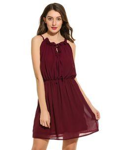 Red Women Spaghetti Straps Solid V Neck Pullover A-Line Casual Dresses