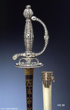 Dress sword, Dresden, 1782-1789. Made of 2060 diamonds, silver, gilded silver, steel, leather, parchment.