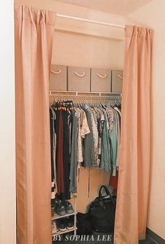 This dorm closet curtain is really cute