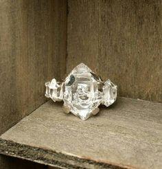 Glam-normous 3 Stone Ring Herkimer Diamond by GoldSilverAndGems $325