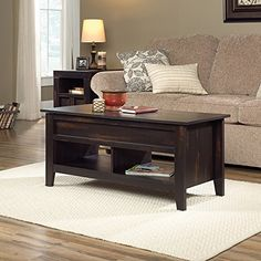Dakota P Lift Top Coffee Table Char Pine Finish Pop Up