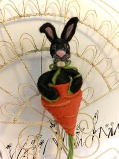 Needle felted black bunny in carrot ornament decor or by CurlyFurr