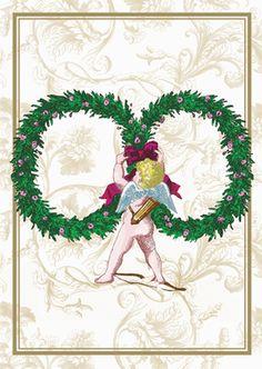 Edle Hochzeitskarte mit klassischem Amor Motiv zum Gratulieren