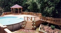 If you want to make your pool look a thousand times better, swimming pool decks can do the trick. It can be concrete or wood decking or vinyl even; installing a swimming pool deck can protect your back yard from… Continue Reading → Gazebo On Deck, Outdoor Balcony, Curved Pergola, 12x12 Gazebo, Patio Roof, Outdoor Fun, Outdoor Ideas, Outdoor Spaces, Small Swimming Pools