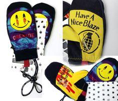 Grenade NWT Blazed & Confused Smiley Face Snowboard Mittens Sz L Pothead Stoner #Grenade