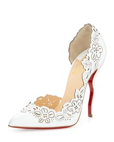 Christian Louboutin Beloved Laser-Cut Patent Red Sole Pump, White