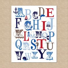 ABC Typography Art Print Ocean Nautical, RWB - 8x10 - Giclée Art Print for Nursery / Childs Room via Etsy