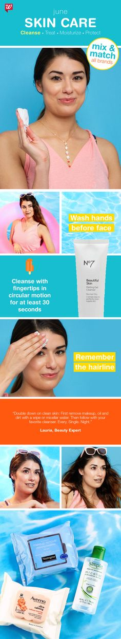 Clean up your act for beautiful, healthy summer skin! Follow our easy 4-step skin care regimen of cleanse, treat, moisturize and protect. Buy 2, get 3rd FREE, all skin care and sun care, now through June 24!