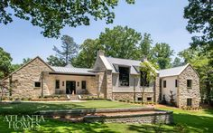 The five-bedroom/six-bath home includes an on-site office. The exterior combines classic farmhouse details, like board-and-batten siding, with modern layers, including a zinc roof, steel windows and limestone. / Photographed by Jeff Herr Rustic Contemporary, Contemporary Garden, Contemporary Bedroom, Contemporary Architecture, Contemporary Chandelier, Contemporary Furniture, Kitchen Contemporary, Contemporary Apartment, Transitional Fireplaces