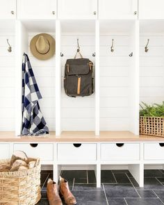 A place to drop backpacks after a long day or a durable home where dirty shoes can live. We are still crushing on this space by @briahammelinteriors. 💕 ​Photo by @spacecrafting_photography. ​Build by @sustainable9.  #thetileshop #mudroom #modernfarmhouse