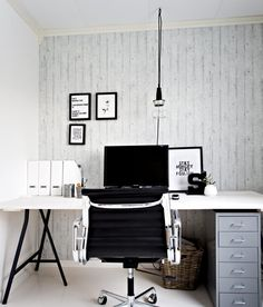 Minimalistisk og røff atmosfære. Idé: Nina Holst, Drammen. Foto: Robert McPherson/dt.no Office Fashion, Office Desk, Style Ideas, Sweet Home, Interior, Furniture, Home Decor, Indoor, Homemade Home Decor