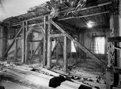View of the north wall of the second-floor corridor of the White House during the renovation. The truss work in the walls of the North Hall have been removed. (National Archives)
