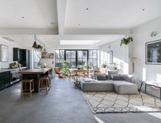 In this post, I'm sharing how we are going to knock through the wall between the kitchen and dining room to create an open plan family space. I'm also looking at the kitchens that are inspiring the design of my own open plan kitchen. Concrete Furniture, Concrete Floors, Open Plan Kitchen Inspiration, Bungalows, Open Plan Kitchen Living Room, Kitchen Dining, Interior Architecture, Interior Design, Room Interior