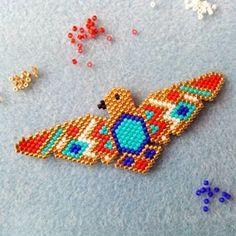 Photos and Videos Miyuki Beads, Hama Beads, Peyote Patterns, Beading Patterns, Bead Crafts, Jewelry Crafts, Art Perle, Brick Stitch Earrings, Native Beadwork