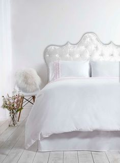 White tufted headboard Lucy with nail trim made to by FelixHart                                                                                                                                                      More