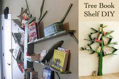 tree doubles as wall art and bookshelf