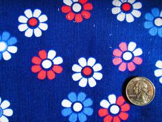 Tossed Flowers on Navy Corduroy /Sewing Craft Supplies / Suiting Fabric / Suitable for light jackets - pinned by pin4etsy.com