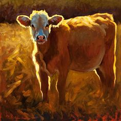 "*I would love this in the hall or bathroom! ""Field of Gold"" by Cheri Christensen Paintings I Love, Animal Paintings, Paintings Of Cows, Cow Painting, Painting & Drawing, Deer Skull Art, Farm Art, Cow Art, Animal Sketches"