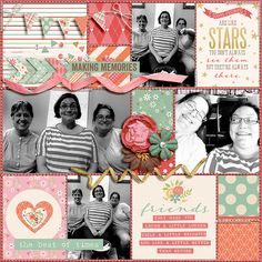 #papercraft #scrapbook #layout. Friends are Like Stars by miss kim. Kit is Memorable: Friendship by Kristin Cronin-Barrow and Zoe Pearn.