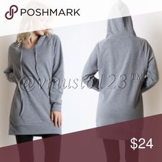 DARK GREY LONG HOODIE SWEATSHIRT THIS IS DARK GREY. SEE FIRST AND THIRD PICTURE FOR TRUE COLOR!!! SECOND PHOTO IS TO SHOW THE EXACT STYLE OF FRONT AND BACK. THESE ARE SOOO COMFORTABLE. EXCELLENT QUALITY. FITS TRUE TO SIZE AND NICE AND LONG. S(2-4) M(6-8) L(10-12) - LIMITED QUANTITIES. HURRY AND GET THEM! Made of 52% cotton, 46% poly, 2% spandex  Perfect for Easter Break Memorial Day spring break Coachella festival vacation lounging date night anniversary birthday present gift comfortable…