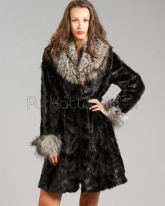 Sculptured Mink Fur Coat with Silver Fox Fur Collar and cuffs
