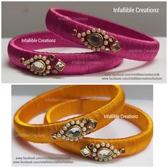Silk Thread Bangles Design, Silk Thread Earrings, Thread Jewellery, Beaded Jewelry, Kundan Bangles, Silk Bangles, Bridal Bangles, Bangles Making, Bangle Set