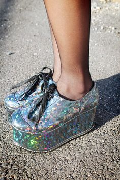 holographic platform shoes, holographic shoes, colorful shoes, accessories, fashion, style