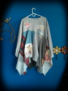 Spring floral COUNTRY sweatshirt lagenlook Upcycle rustic Boho altered Knit patchwork tunic Dress top frock shabby L XL OOAK by PinkSunshineShabby on Etsy https://www.etsy.com/listing/225956800/spring-floral-country-sweatshirt