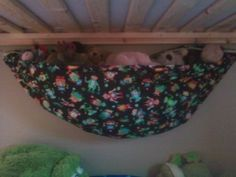 animals is a stuffed animal hammock that I made f. animals is a stuffed animal hammock that I made for our youngest son Stuffed Animal Hammock, Stuffed Animal Storage, Toy Hammock, Indoor Hammock, Hammocks, Diy Crafts For Kids, Gifts For Kids, Soft Toy Storage, Homemade Stuffed Animals