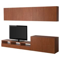BESTÅ TV storage combination - medium brown - IKEA