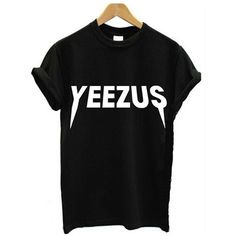 Spring/Summer Yeezus Letter Printed Short-sleeved Casual Cotton... ($16) ❤ liked on Polyvore featuring tops, t-shirts, summer tees, short sleeve t shirt, short sleeve tee, cotton t shirt and cotton summer tops