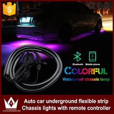 Car Headlight Bulbs(led) 1set Rgb Led Strip Under Car Tube Underglow Underbody Glow System Neon Light Remote Drop Shipping Automobiles & Motorcycles
