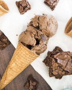 This chocolate fudge brownie ice cream is rich chocolate ice cream, swirled with hot fudge, and stuffed full of brownie chunks throughout. Its the ultimate ice cream for chocolate lovers. Chocolate Brownie Ice Cream, Fudge Ice Cream, Chocolate Fudge Brownies, Ice Cream Desserts, Hot Fudge, Frozen Desserts, Ice Cream Recipes, Chocolate Lovers, Frozen Treats