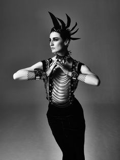 Erin O'Connor in a Giorgio #Armani embellished top, long skirt and fingerless gloves